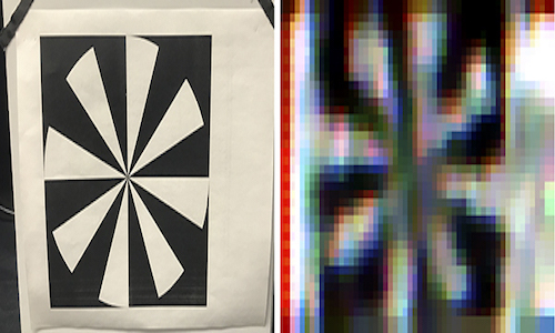 Black-and-white pinwheel pattern hidden around the corner. On right is what the camera sees looking at the polarized light reflected off the wall.